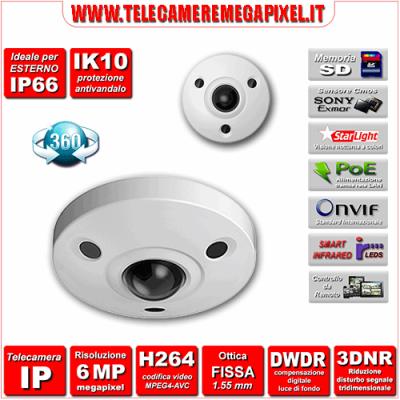IPC-EBW8600 - Telecamera 6 Megapixel ottica 1,55 mm - Visione 360°