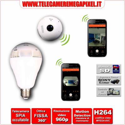 Telecamera Nascosta 1.3 Megapixel WIFI - P2P - 960P - PTZ - ottica 180/360° - FISHEYE