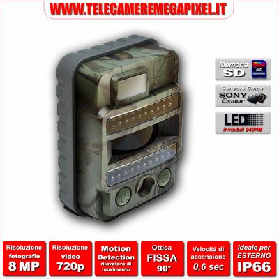 WN-28P - Fototrappola Professionale 8 Megapixel - Video HD 720P - IP66