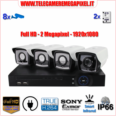 WN-PLC4-2MP - Kit Powerline PLC - NVR 4 Canali - 4 Telecamere PLC 720P 1 Megapixel Sony