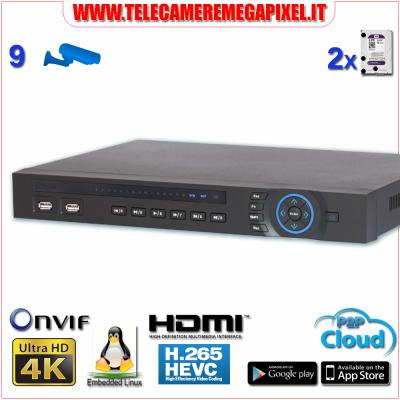 Registratore NVR 9 Canali IP 4K