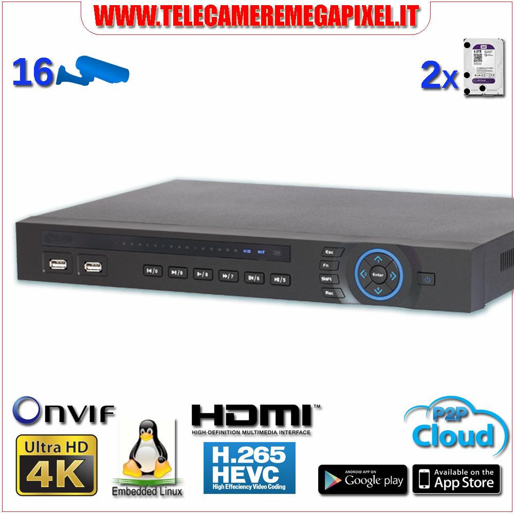 registratore nvr 16 canali ip 4k ultra hd risoluzione di