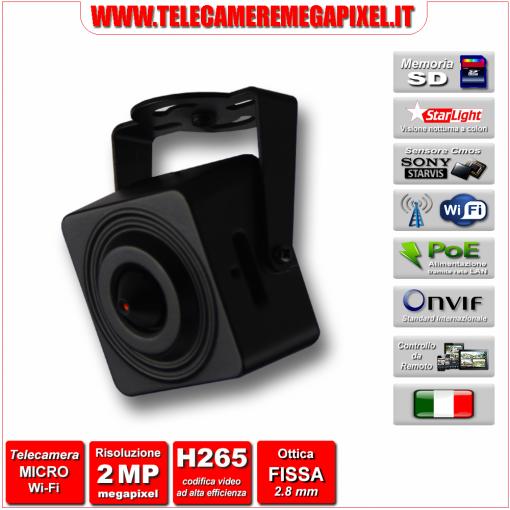 WN-IP2MPSDWIFI-02 Microtelecamera IP - 2 Megapixel - Sony STARVIS - WIFI - memoria SD fino a 128 GB