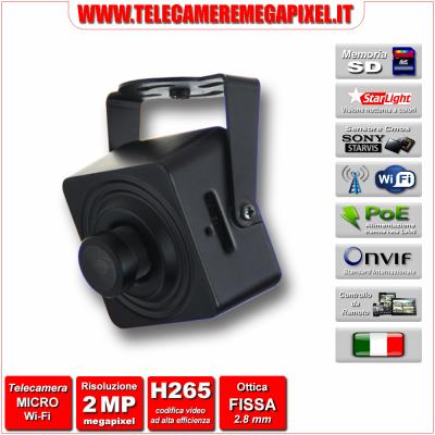 WN-IP2MPSDWIFI-01 Microtelecamera IP - 2 Megapixel - Sony STARVIS - WIFI - memoria SD fino a 128 GB