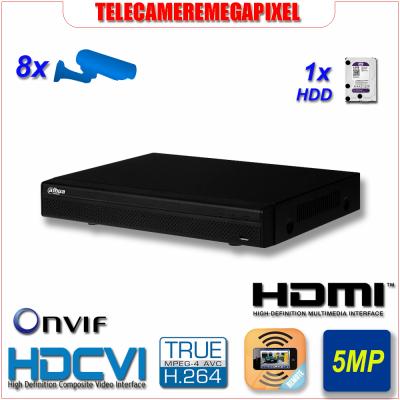 HCVR5108HE-S3 - Videoregistratore DVR - HDCVI - 8 canali - H264 - Telecamere fino a 5MP