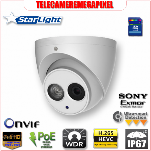 IPC-HDW4231EM-AS - Telecamera - 2 megapixel - Starlight - H265 - IP67 - Memoria SD