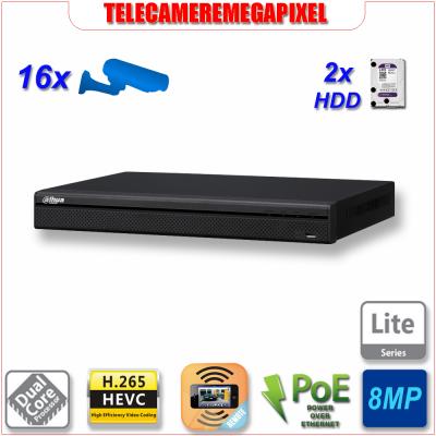 NVR4216-16P4KS2 - NVR - 16 canali - PoE - H265 - Telecamere fino 8MP