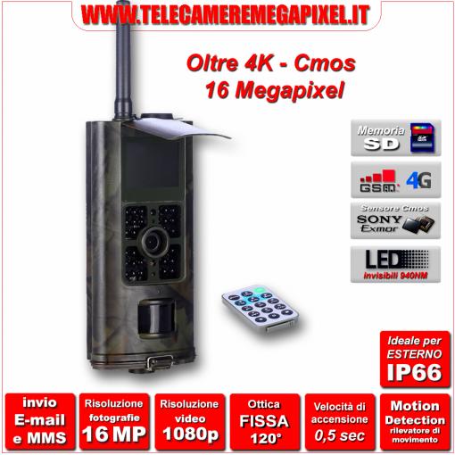 WN-7004G-03 – FOTOTRAPPOLA 16 MP PROFESSIONALE – 4K – IP66 – CON TELEFONO CELLULARE INCORPORATO GPRS – MMS - EMAIL