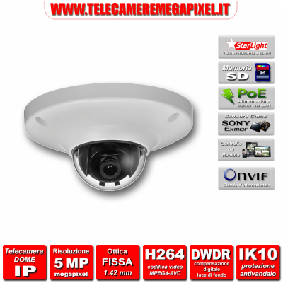 IP-EB5500 - Telecamera Dome IP - 5 Megapixel - H264 - Ottica 1,42mm - Starlight
