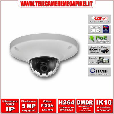 IP-EB5500 - Telecamera Dome IP - 5 Megapixel - H264 - Ottica 1,42mm - Starlight