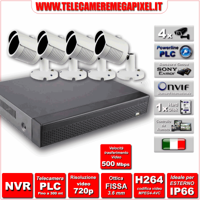 Kit Powerline PLC WN-PLC4-1MP720p-REV2 - NVR 4 Canali - 4 Telecamere PLC 720P 1 Megapixel Sony