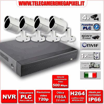 Kit Powerline PLC WN-PLC4-1MP720p-REV2 - NVR 4 Canali - 4 Telecamere PLC 720P 1 Megapixel Sony