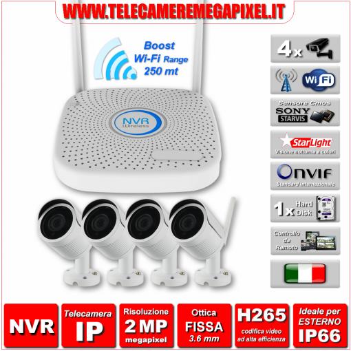 Kit WiFi WN-KITIP2MP2-4-4TLC - Kit Videosorveglianza - NVR IP H265 + 4 Telecamere WIFI 2 Megapixel Ottica 3,6 mm H265