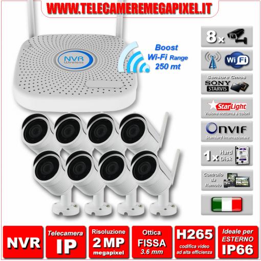 Kit WiFi WN-KITIP2MP2-8-8TLC - Kit Videosorveglianza WiFi - NVR IP H265 + 8 Telecamere WIFI 2 Megapixel Ottica 3,6 mm H265