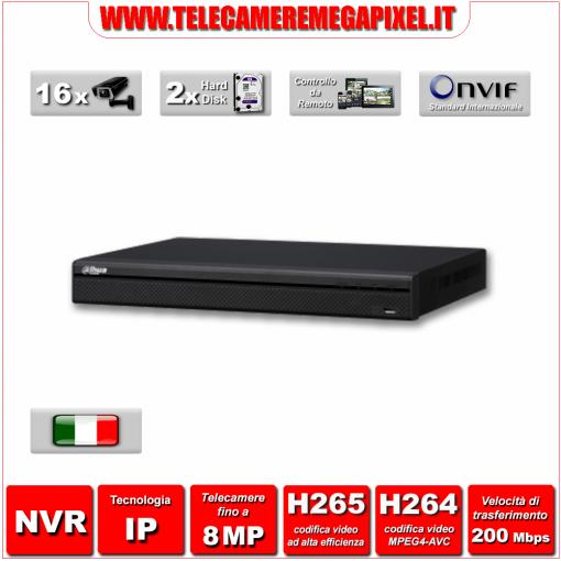 NVR4216-4KS2 - Videoregistratore NVR - 16 canali - H265 - Telecamere fino a 8MP