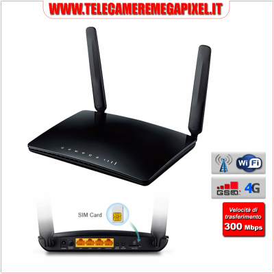 WN-RTR4GW - Router 4G LTE Wireless - 300 Mbps - 4 Porte Fast Ethernet - Slot Sim Integrato