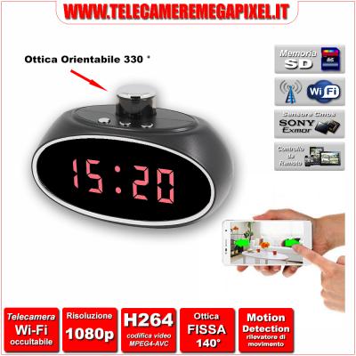 WN-522W-02 Telecamera Spia Wi-Fi occultabile – Risoluzione 1080P – Rotazione ottica 330°
