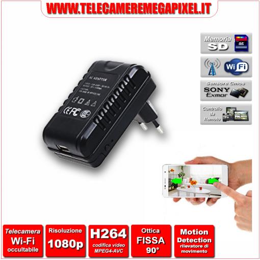 WN-542W-02 Telecamera Spia Wi-Fi occultabile - Caricatore USB – Risoluzione 1080P – Ottica fissa 90°