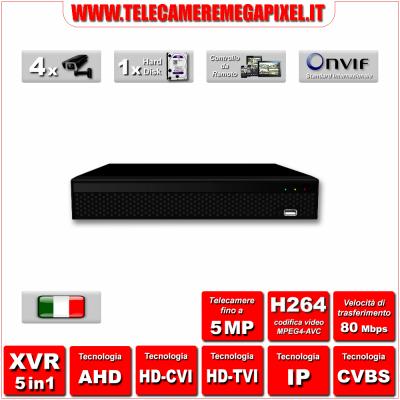 WN-XVR5IN1-41H-01 - Video Registratore XVR - 5 in 1 - H264 - Telecamere fino a 5MP