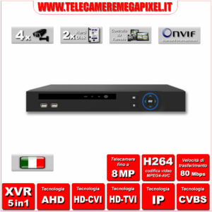 WN-XVR5IN1-42H-01 - Video Registratore XVR – 5 in 1 – H264 – Telecamere fino a 8MP