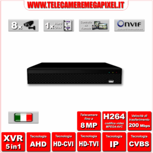 WN-XVR5IN1-81H-01 - Video Registratore XVR - 5 in 1 - H264 - Telecamere fino a 8MP