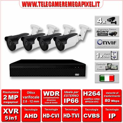 Kit Videosorveglianza WN-KITXVR5IN14BUV-2MP - XVR 5in1 - 4 Telecamere 2 MP - ottica varifocale 2,8/12mm