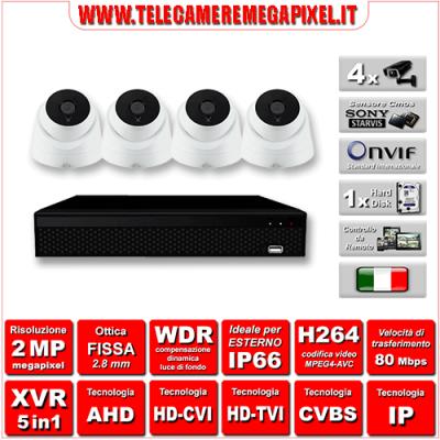 Kit Videosorveglianza WN-KITXVR5IN14DO-2MP - XVR 5in1 - 4 Telecamere 2 MP ottica fissa 2,8mm