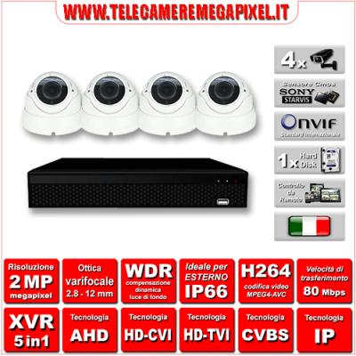 Kit Videosorveglianza WN-KITXVR5IN14DOV-2MP - XVR 5in1 - 4 Telecamere 2 MP - ottica varifocale 2,8/12mm