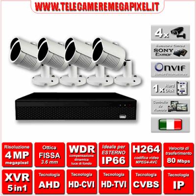 Kit Videosorveglianza WN-KITXVR5IN14BU-4MP - XVR 5in1 - 4 Telecamere 4 MP - ottica fissa 3,6mm