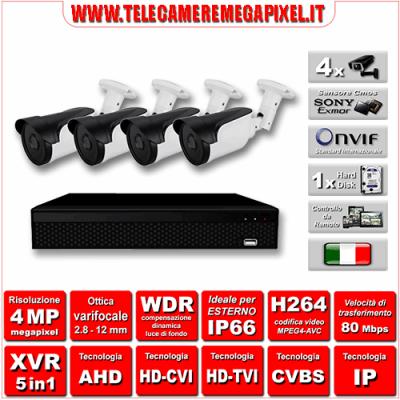 Kit Videosorveglianza WN-KITXVR5IN14BUV-4MP - XVR 5in1 - 4 Telecamere 4 MP - ottica varifocale 2,8/12mm