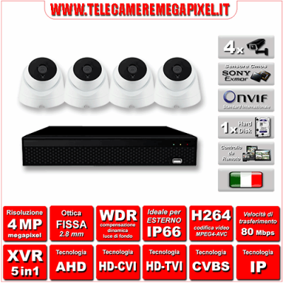Kit Videosorveglianza WN-KITXVR5IN14DO-4MP - XVR 5in1 - 4 Telecamere 4 MP - ottica fissa 3,6mm