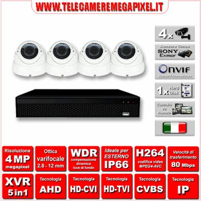 Kit Videosorveglianza WN-KITXVR5IN14DOV-4MP - XVR 5in1 - 4 Telecamere 4 MP - ottica varifocale 2,8/12mm