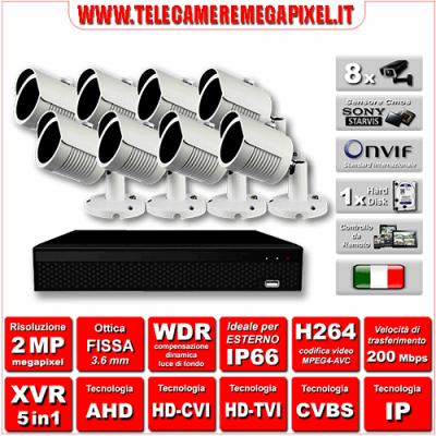 Kit Videosorveglianza WN-KITXVR5IN18BU-2MP - XVR 5in1 - 8 Telecamere 2 MP ottica fissa 3,6mm