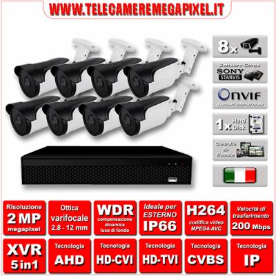 Kit Videosorveglianza WN-KITXVR5IN18BUV-2MP - XVR 5in1 - 8 Telecamere 2 MP - ottica varifocale 2,8/12mm