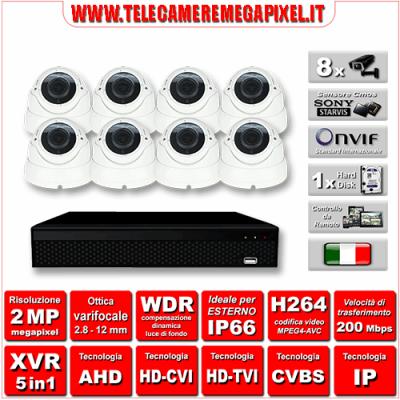 Kit Videosorveglianza WN-KITXVR5IN18DOV-2MP - XVR 5in1 - 8 Telecamere 2 MP - ottica varifocale 2,8/12mm