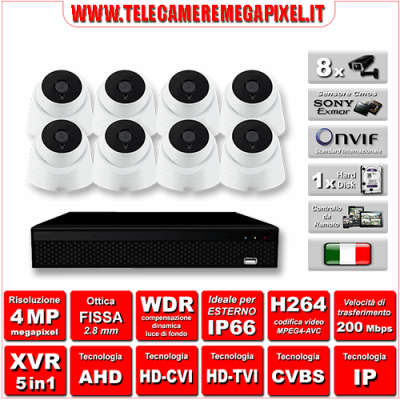 Kit Videosorveglianza WN-KITXVR5IN18DO-4MP - XVR 5in1 - 8 Telecamere 4 MP - ottica fissa 3,6mm