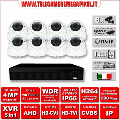 Kit Videosorveglianza WN-KITXVR5IN18DOV-4MP - XVR 5in1 - 8 Telecamere 4 MP - ottica varifocale 2,8/12mm