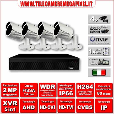 Kit Videosorveglianza WN-KITXVR5IN14BU-2MP - XVR 5in1 - 4 Telecamere 2 MP ottica fissa 3,6mm
