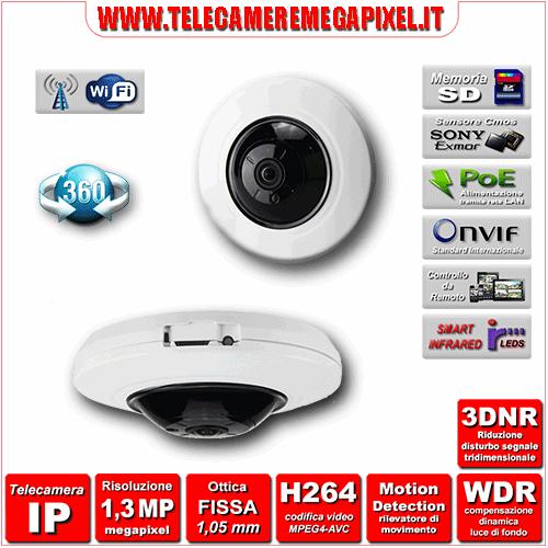 Telecamera IP 360° IPC-WN-EBW82010 - H264 - risoluzione 1,3 Megapixel ottica Grandangolare 1,05 mm