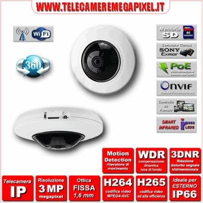 Telecamera IP 360° IPC-WN-EBW82050 - H264 / H265 - risoluzione 3 Megapixel ottica Grandangolare 1,05 mm