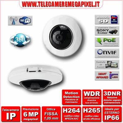Telecamera IP 360° IPC-WN-EBW82200 - H264 / H265 - risoluzione 6 Megapixel ottica Grandangolare 1,05 mm