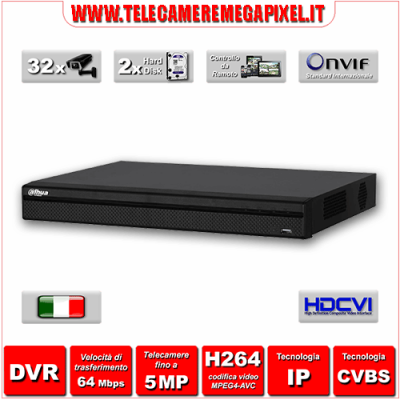 HCVR5232AN-S3 - Videoregistratore DVR - HDCVI - 32 canali - H264 - Telecamere fino a 5MP