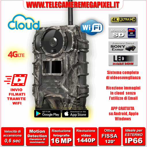Fototrappola Cloud con batterie al litio